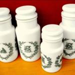 4 pots en verre opalin (made in Italy)