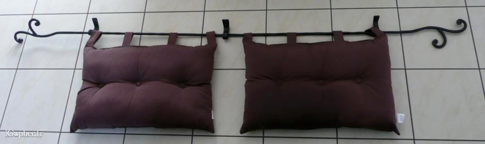 Support t te de lit avec 2 coussins - Tete de lit avec coussin ...
