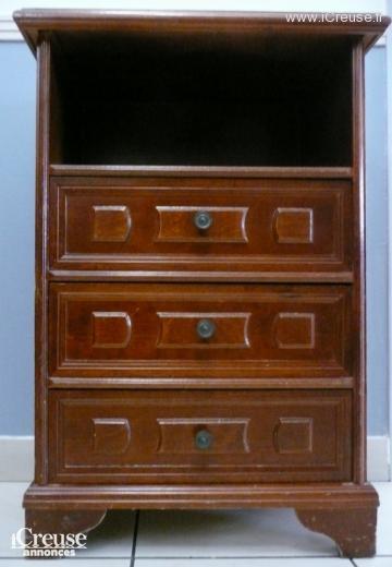 Petit meuble 3 tiroirs bois exotique - Meuble bois exotique ...