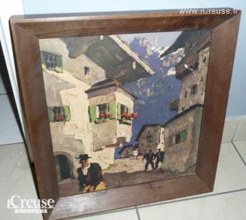 Tableau reproduction d'un village de montagne