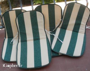 4 Coussins Pour Chaises De Jardin