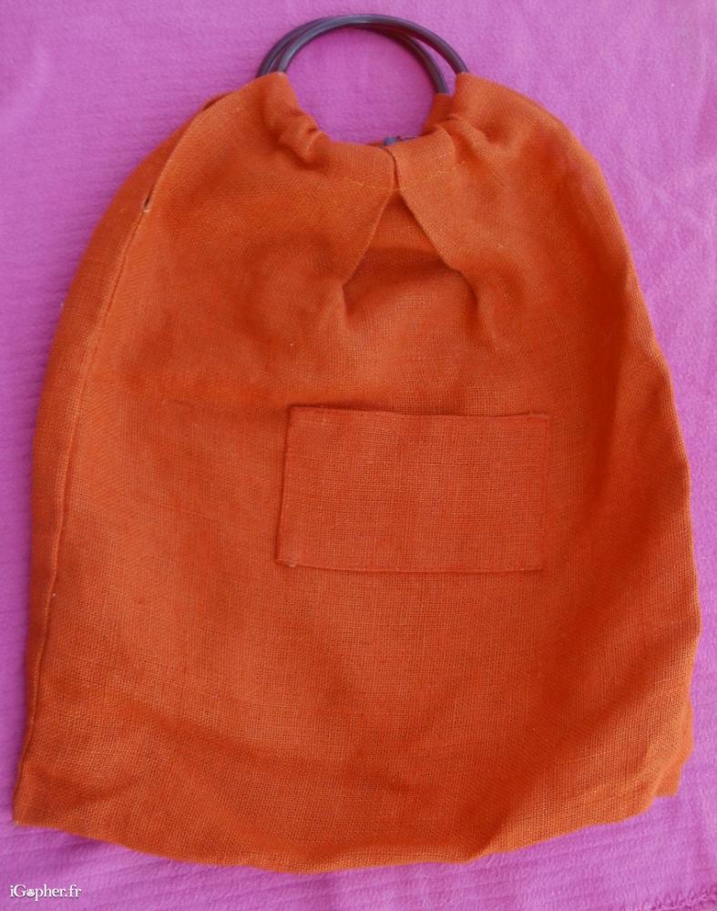 grand sac en toile de jute orange. Black Bedroom Furniture Sets. Home Design Ideas