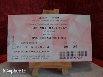 Billet de concert Johnny Hallyday