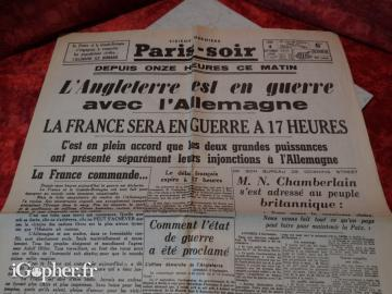 Journal de guerre : Paris-Soir (4 Septembre 1939)