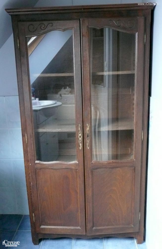 biblioth que en bois r nover avec vitrine. Black Bedroom Furniture Sets. Home Design Ideas